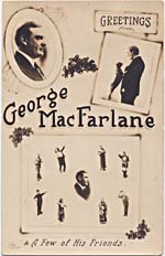 Postcard featuring George MacFarlane in various costumes for different roles