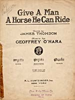 Cover of sheet music for the song, GIVE A MAN A HORSE HE CAN RIDE