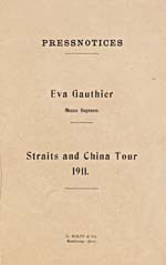 Front cover of a booklet of newspaper reviews of Éva Gauthier's performances on her tour of China, 1911
