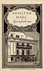 Cover of programme for the 1918-1919 season at Aeolian Hall, New York