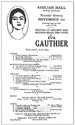 Concert programme for Gauthier's RECITAL OF ANCIENT AND MODERN MUSIC FOR VOICE