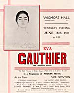 Cover of programme for one of Gauthier's concerts of modern music in London, England, June 1925