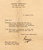 Letter from George Gershwin, dated August 16, 1933, indicating the enclosure of his cheque for payment of his membership in the National Association for American Composers and Conductors