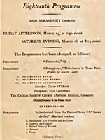Programme for the American premiere of PERSÉPHONE, with Éva Gauthier in the title role