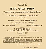 Announcement for a recital by Eva Gauthier, May 14, 1936