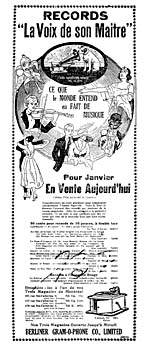 Advertisement for Gauthier's recordings of French-Canadian folk songs, LA PRESSE, December 31, 1918