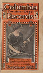 Cover of the Columbia Records catalogue for October 1912, featuring a photograph of Kathleen Parlow