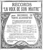 Advertisement for recordings by Hector Pellerin, Enrico Caruso and others