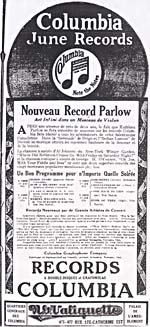 Advertisement for Columbia Records June releases, featuring Parlow's recording of Dvorak's INDIAN LAMENT