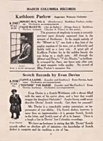 Page 2 of the Columbia Records catalogue, March 1917, advertising a recording by Parlow