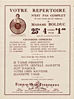 Page from sheet music for the song, ÇA VA VENIR DÉCOURAGEZ-VOUS PAS, with an advertisement for other comic songs by La Bolduc