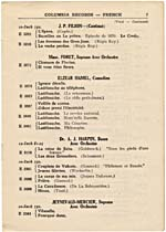 Page 7 of the Columbia French Records catalogue for 1917, with a listing of Hamel's comic monologues