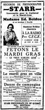 Newspaper ad with La Bolduc's likeness