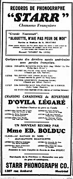 Ad for the music of Bolduc and Ovila Legaré, as well as for French versions of popular American songs