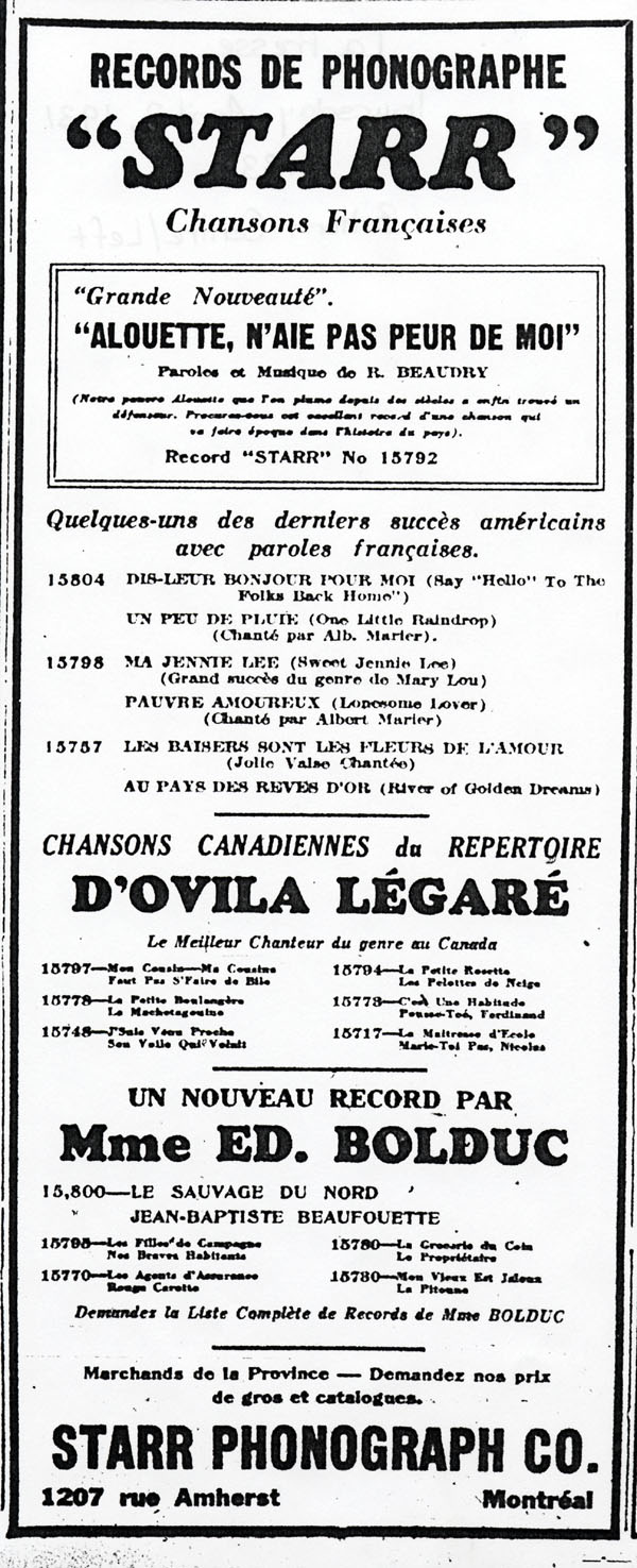 Madame douard bolduc mary travers folk singer and songwriter ad for the music of bolduc and ovila legar as well as for french versions of popular american songs stopboris Images