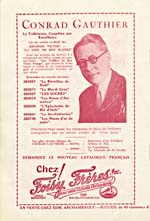 [Page 3] of a music programme for the Veillées du bon vieux temps production of LES SUCRES, 1931, featuring an advertisement for Conrad Gauthier's recordings