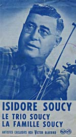 Cover of an October 1950 RCA Victor catalogue insert advertising recordings by Isidore Soucy, Le Trio Soucy and La Famille Soucy, and featuring a photo of Isidore Soucy
