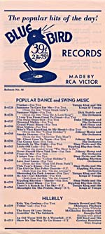 Cover of a 1937 Bluebird Records catalogue supplement with the catchphrase, THE POPULAR HITS OF THE DAY!
