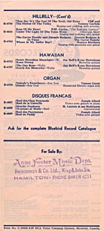 Back page of a 1937 Bluebird Records catalogue supplement with a list of recordings by Henri Lacroix et ses Habitants