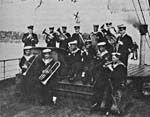 Photograph of a pioneer Canadian Navy Band, aboard the ship, LADY EVELYN, Sydney, N.S., 1918