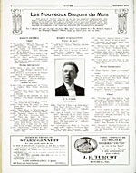 Advertisements in music periodical, LA LYRE, November 1922, for recordings by  J. Hervey Germain on the Starr-Gennett record label