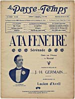 Cover of the music periodical, LE PASSE-TEMPS,  February 1916, showing J. Hervey Germain