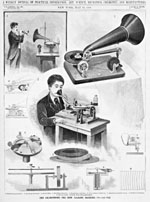 A series of drawings depicting THE GRAMOPHONE-THE NEW TALKING MACHINE 1896