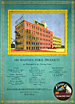 An advertisement showing the Berliner Gram-o-phone Company factory and head office in Montreal, 1918