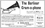 Advertisement for E. Berliner, Montréal, 1901, promoting the Berliner Gram-o-phone