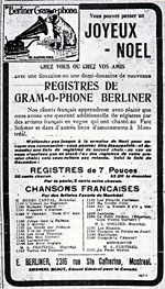 Advertisement for E. Berliner, Montréal, 1903, promoting their French recordings