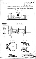 Drawing of the phonograph from Thomas Edison's Canadian patent no. 9282