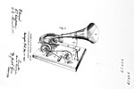 Drawing of the gramophone from Emile Berliner's Canadian patent no. 55079