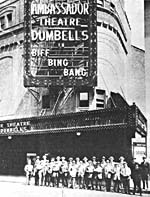 Photograph of The Dumbells troupe outside the Ambassador theatre in New York City where their show BIFF, BING, BANG was a smash hit in 1921