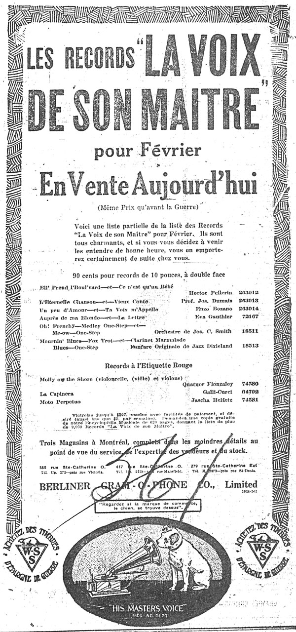 Advertisement for a sale on His Masters Voice label recordings for February 1919, featuring a recording by Hector Pellerin