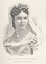 Engraving of Emma Albani, circa 1883
