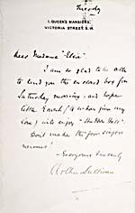 Handwritten note to Albani from composer Arthur Sullivan