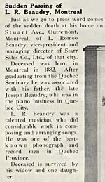 Obituary notice for Romeo Beaudry, May 1932