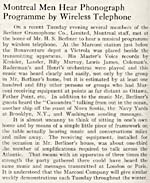 Article about a demonstration by the Marconi Company, which allowed members of the Berliner Gram-o-phone staff to hear a musical programme by wireless telephone, in December 1920