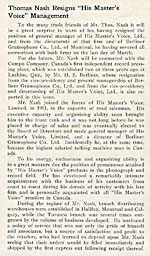 Article about Thomas Nash's move from the Berliner Gram-o-phone Co., Ltd. of Montreal to the Compo Company, April 1921