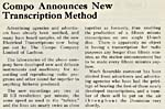 Article announcing The Compo Company's new transcription method, April 1932