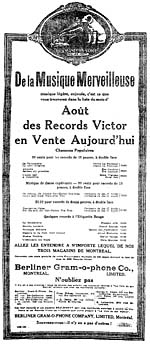 Advertisement for the August list of Victor Records recordings, featuring two of Gauthier's recordings of French-Canadian folk songs, LA PRESSE, August 1, 1917