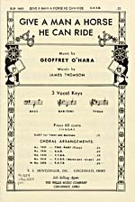 Cover of sheet music for GIVE A MAN A HORSE HE CAN RIDE, by Geoffrey O'Hara