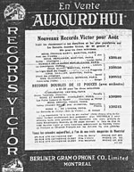 Victor Records advertisement for French recordings, La Presse, July 28, 1914, p.8
