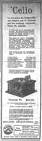 Advertisement for recordings of cello music by Canadian Rosario Bourdon and others; La Patrie, March 26, 19155