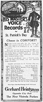 Advertisement for recordings of popular Irish songs, in honour of St. Patrick's Day