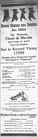 French advertisement for BONNE CHANCE AUX SOLDATS DES ALLIÉS (GOOD LUCK TO THE BOYS OF THE ALLIES), April 1916
