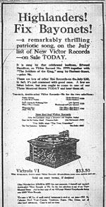 Victor Records advertisement for a patriotic song by Canadian Geoffrey O'Hara