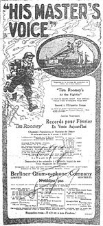 Advertisement for patriotic songs, comic monologues and dance music, February 1918