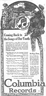 Columbia Records advertisement for SONGS OF OUR YOUTH, January 1919