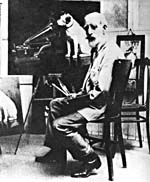 Photograph of Francis Barraud with one of his paintings for His Master's Voice